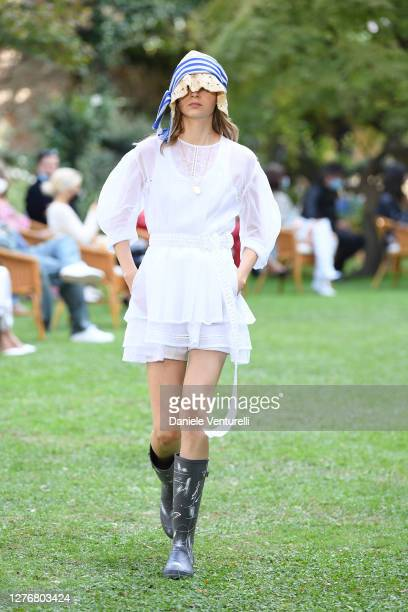 Model walks the runway at the Philosophy fashion show during the Milan Women's Fashion Week on September 26, 2020 in Milan, Italy.