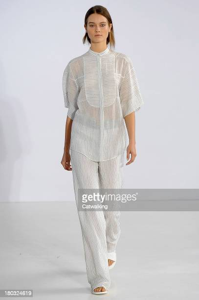 Model walks the runway at the Philosophy Spring Summer 2014 fashion show during New York Fashion Week on September 11, 2013 in New York, United...
