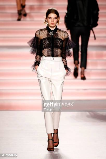 A model walks the runway at the Philosphy Di Lorenzo Serafini show during Milan Fashion Week Fall/Winter 2017/18 on February 25 2017 in Milan Italy