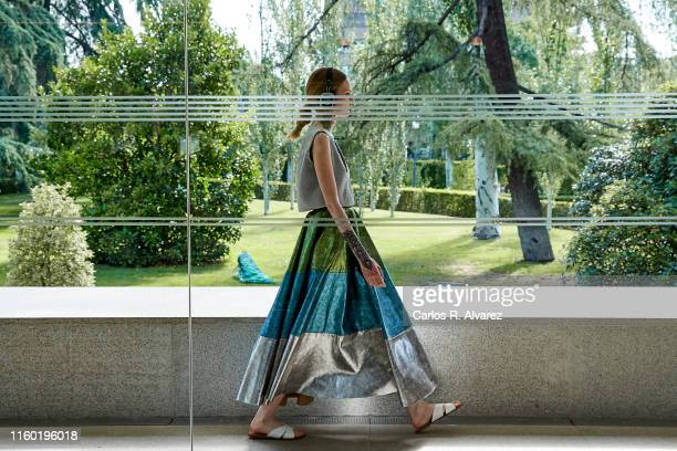 A model walks the runway at the Pilar Dalbat fashion show during the Mercedes Benz Fashion Week Spring/Summer 2020 at Retiro Park on July 05 2019 in...