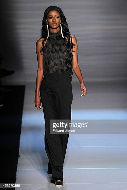 Model walks the runway at the Pink Tartan Spring/Summer 2015 fashion show during World Mastercard Fashion Week on October 20, 2014 in Toronto, Canada.