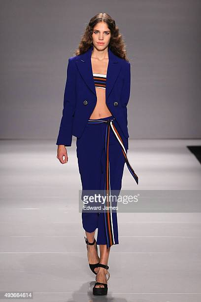 A model walks the runway at the Pink Tartan Spring/Summer 2016 fashion show during World Mastercard fashion week on October 21 2015 in Toronto Canada