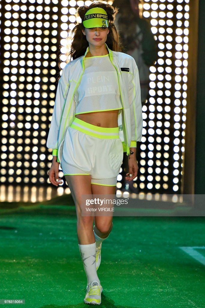 A Model Walks The Runway At The Plein Sport Fashion Show
