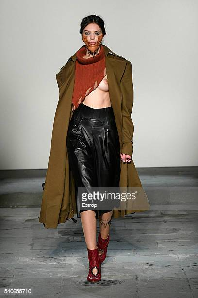 A model walks the runway at the Polimoda fashion show designed by Greta Giannini during Pitti 90 on June 14 2016 in Florence Italy