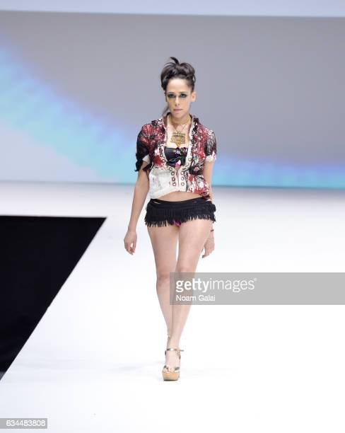 A model walks the runway at the Popoganda By Richie Rich fashion show during February 2017 New York Fashion Week at The Theater at Madison Square...