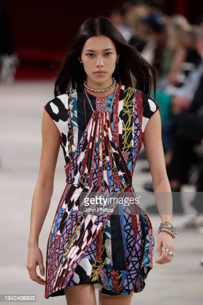 Model walks the runway at the Ports 1961 fashion show during the Milan Fashion Week - Spring / Summer 2022 on September 25, 2021 in Milan, Italy.