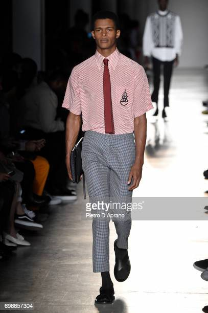A model walks the runway at the Ports 1961 show during Milan Men's Fashion Week Spring/Summer 2018 on June 16 2017 in Milan Italy