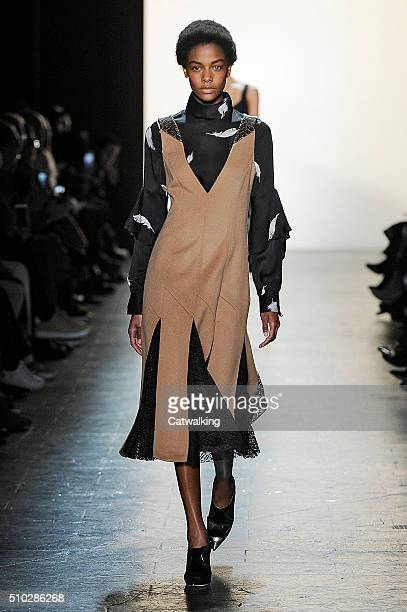 A model walks the runway at the Prabal Gurung Autumn Winter 2016 fashion show during New York Fashion Week on February 14 2016 in New York United...