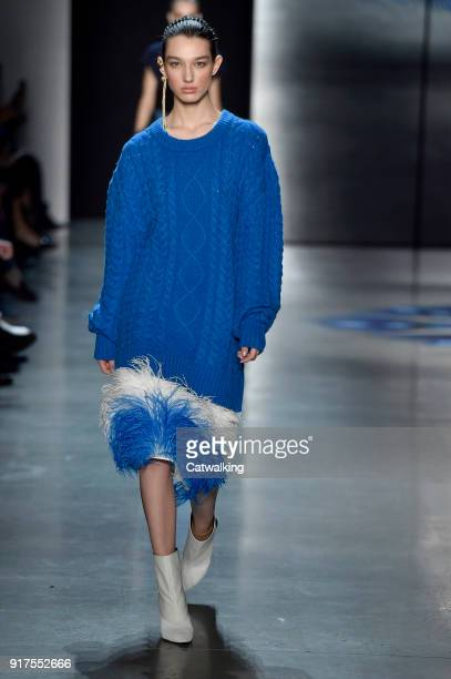 Model walks the runway at the Prabal Gurung Autumn Winter 2018 fashion show during New York Fashion Week on February 11, 2018 in New York, United...