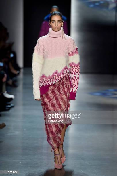 A model walks the runway at the Prabal Gurung Autumn Winter 2018 fashion show during New York Fashion Week on February 11 2018 in New York United...