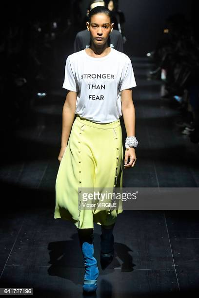 Model walks the runway at the Prabal Gurung fashion show during New York Fashion Week Fall Winter 2017-2018 on February 12, 2017 in New York City.