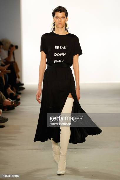 A model walks the runway at the Prabal Gurung show during the MercedesBenz Fashion Week Berlin Spring/Summer 2018 at Kaufhaus Jandorf on July 7 2017...