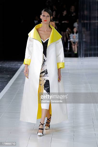 Model walks the runway at the Prabal Gurung Spring 2014 fashion show during Mercedes-Benz Fashion Week at Moynihan Station in New York City on...