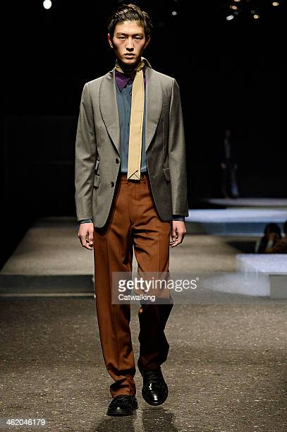 A model walks the runway at the Prada Autumn Winter 2014 fashion show during Milan Menswear Fashion Week on January 12 2014 in Milan Italy
