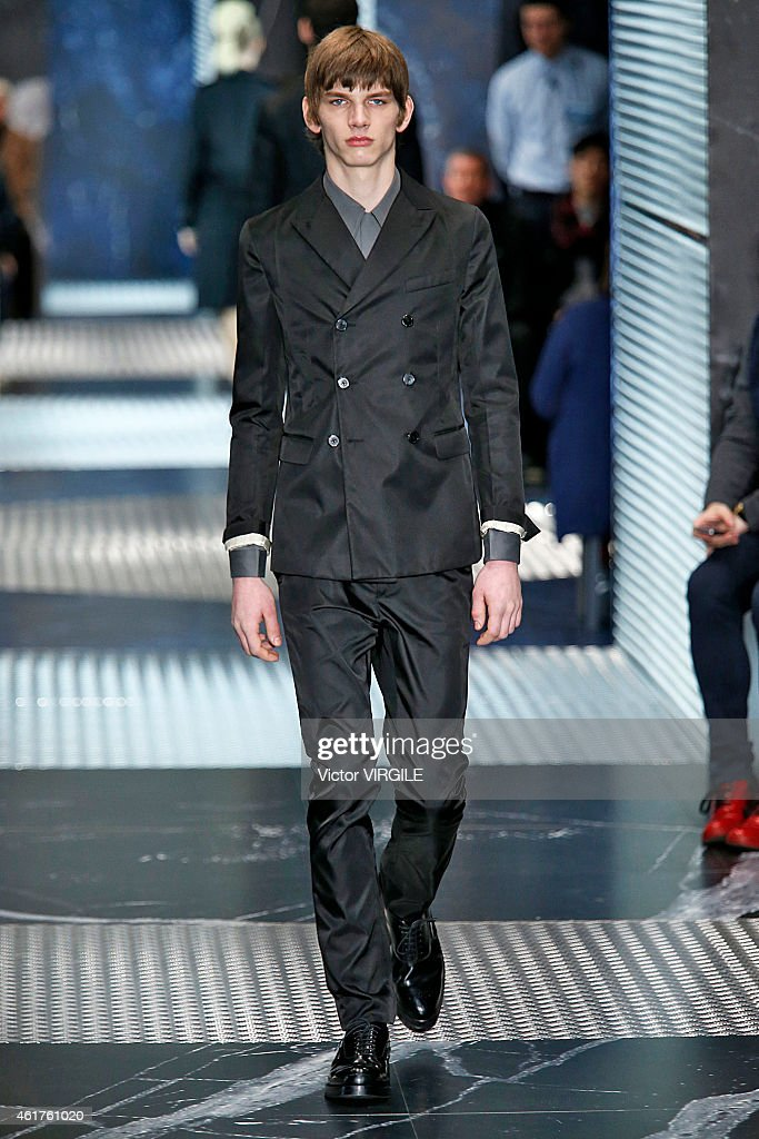 A model walks the runway at the Prada Autumn Winter 2015 fashion show during Milan Menswear Fashion Week on January 18, 2015 in Milan, Italy.