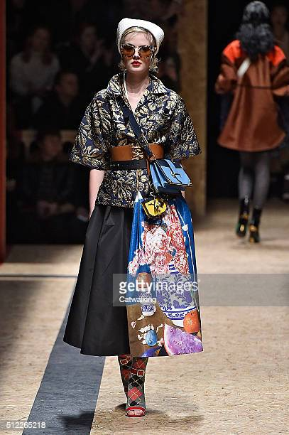A model walks the runway at the Prada Autumn Winter 2016 fashion show during Milan Fashion Week on February 25 2016 in Milan Italy