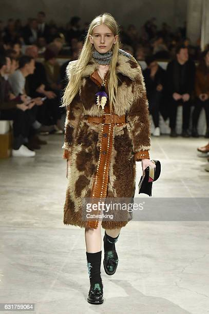 Model walks the runway at the Prada Autumn Winter 2017 fashion show during Milan Menswear Fashion Week on January 15, 2017 in Milan, Italy.