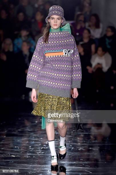A model walks the runway at the Prada Autumn Winter 2018 fashion show during Milan Fashion Week on February 22 2018 in Milan Italy
