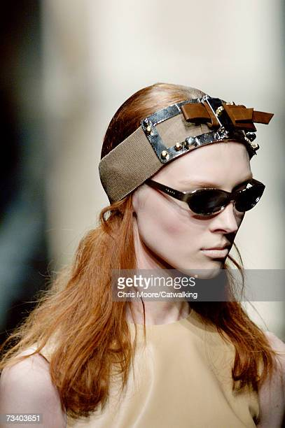 A model walks the runway at the Prada Autumn/Winter 2007 collection during Milan Fashion Week February 20 2007 in Milan Italy