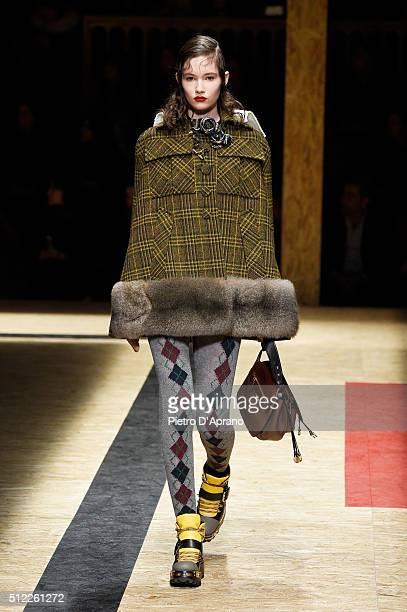 A model walks the runway at the Prada during Milan Fashion Week Fall/Winter 2016/17 on February 25 2016 in Milan Italy