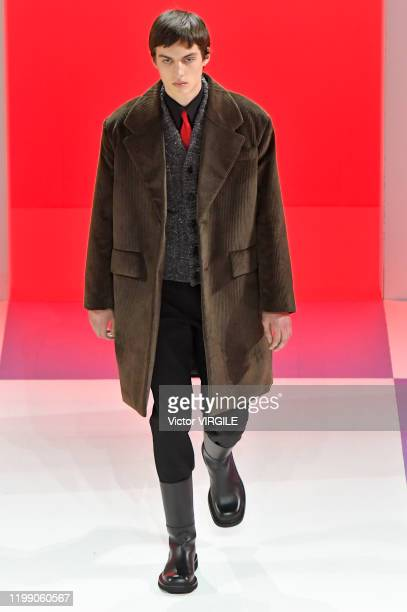 Model walks the runway at the Prada Fall/Winter 2020-2021 fashion show Milan Men's Fashion Week on January 12, 2020 in Milan, Italy.