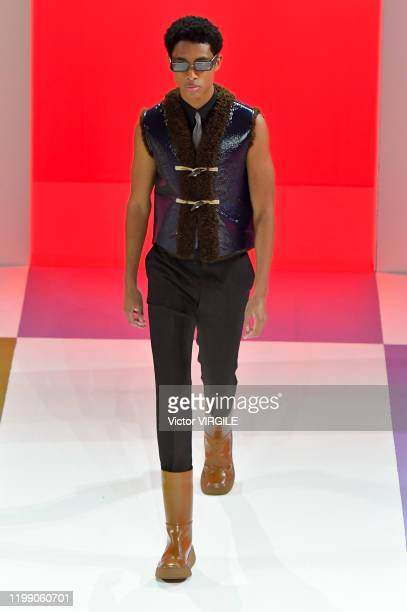 Model walks the runway at the Prada Fall/Winter 2020-2021 fashion show Milan Men's Fashion Week on January 12, 2020 in Milan, Italy.