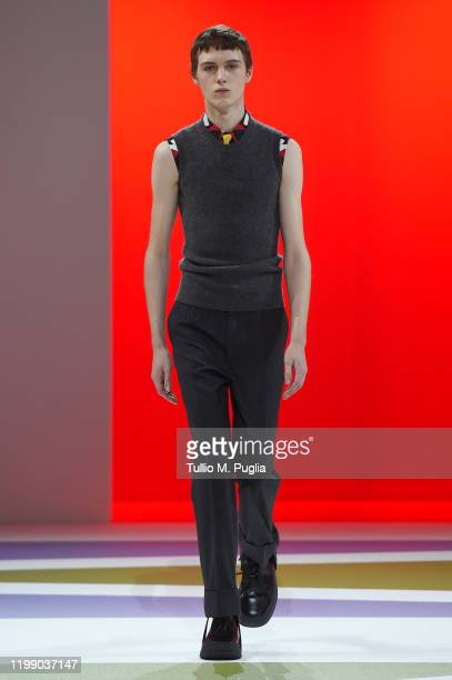 A model walks the runway at the Prada fashion show on January 12 2020 in Milan Italy