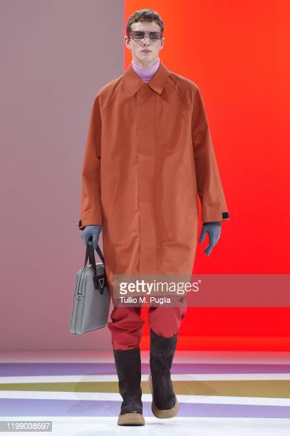Model walks the runway at the Prada fashion show on January 12, 2020 in Milan, Italy.