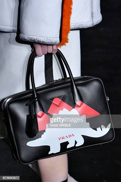 A model walks the runway at the Prada Ready to Wear Fall/Winter 20182019 fashion show during Milan Fashion Week Fall/Winter 2018/19 on February 22...