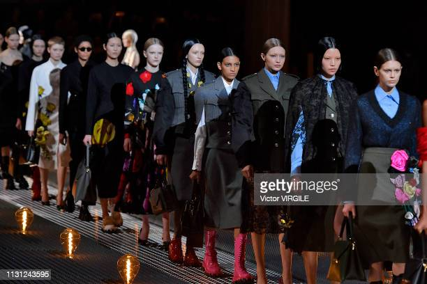 A model walks the runway at the Prada Ready to Wear Fall/winter 20192020 fashion show at Milan Fashion Week Autumn/Winter 2019/20 on February 21 2019...