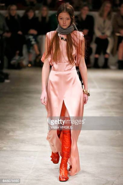 A model walks the runway at the Prada Ready to Wear fashion show during Milan Fashion Week Fall/Winter 2017/18 on February 23 2017 in Milan Italy