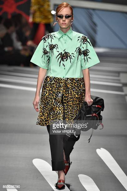 A model walks the runway at the Prada Ready to Wear Spring/Summer 2018 fashion show during Milan Fashion Week Spring/Summer 2018 on September 21 2017...