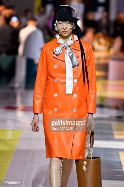 A model walks the runway at the Prada Ready to Wear Spring/Summer 2020 fashion show during the Milan Fashion Week Spring/Summer 2020 on September 18...