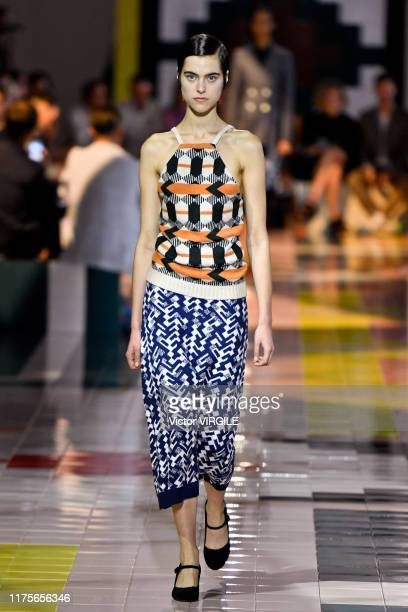 Model walks the runway at the Prada Ready to Wear Spring/Summer 2020 fashion show during the Milan Fashion Week Spring/Summer 2020 on September 18,...