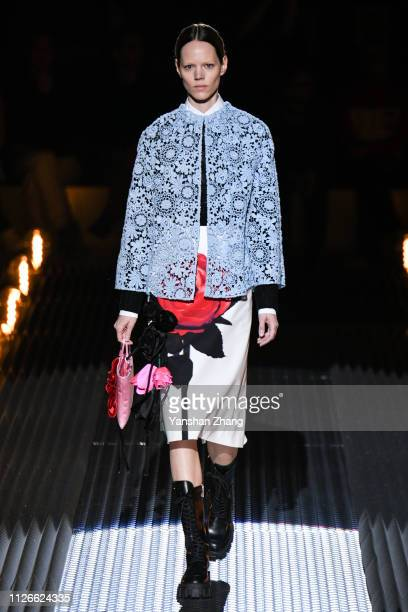 Model walks the runway at the Prada show at Milan Fashion Week Autumn/Winter 2019/20 on February 21, 2019 in Milan, Italy.