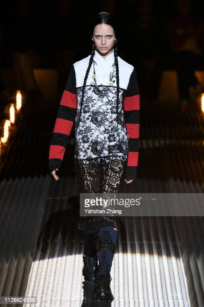 A model walks the runway at the Prada show at Milan Fashion Week Autumn/Winter 2019/20 on February 21 2019 in Milan Italy