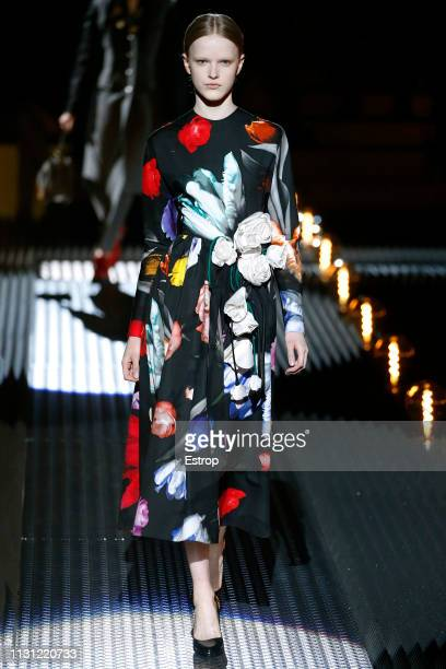 A model walks the runway at the Prada show at Milan Fashion Week Autumn/Winter 2019/20 on February 20 2019 in Milan Italy
