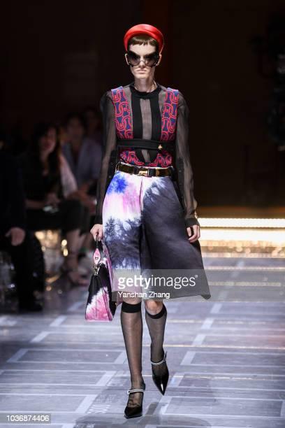 A model walks the runway at the Prada show during Milan Fashion Week Spring/Summer 2019 on September 20 2018 in Milan Italy