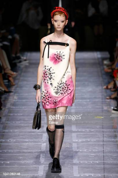 A model walks the runway at the Prada show during Milan Fashion Week Spring/Summer 2019 on September 20 2018 in Milan Italy