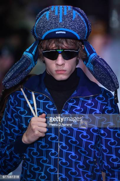 A model walks the runway at the Prada show during Milan Men's Fashion Week Spring/Summer 2019 on June 17 2018 in Milan Italy
