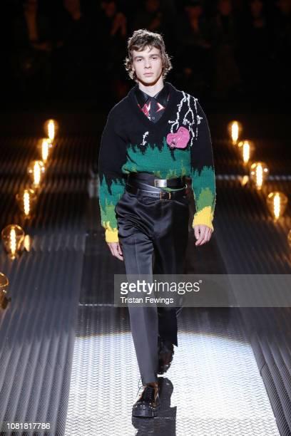 A model walks the runway at the Prada show during Milan Menswear Fashion Week Autumn/Winter 2019/20 on January 13 2019 in Milan Italy