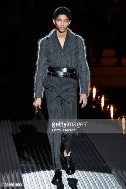 A model walks the runway at the Prada show during Milan Menswear Fashion Week Autumn/Winter 2019/20 on January 13 2019 in Milan Italy