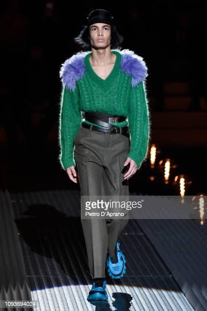 Model walks the runway at the Prada show during Milan Menswear Fashion Week Autumn/Winter 2019/20 on January 13, 2019 in Milan, Italy.