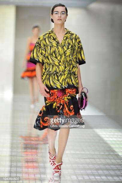 A model walks the runway at the Prada Spring Summer 2011 fashion show during Milan Fashion Week at on September 23 2010 in Milan City