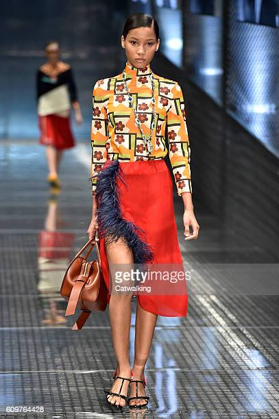 A model walks the runway at the Prada Spring Summer 2017 fashion show during Milan Fashion Week on September 22 2016 in Milan Italy
