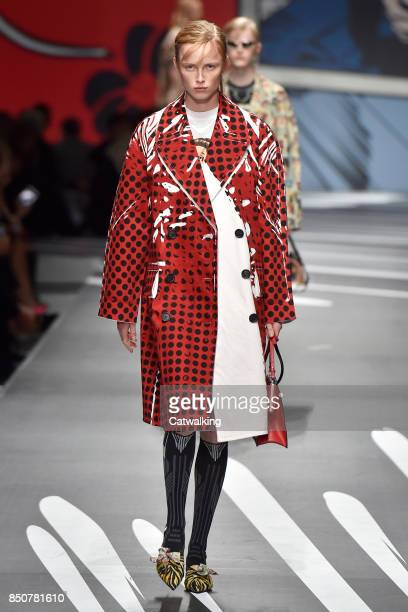 A model walks the runway at the Prada Spring Summer 2018 fashion show during Milan Fashion Week on September 21 2017 in Milan Italy