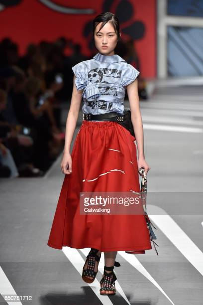 A model walks the runway at the Prada Spring Summer 2018 fashion show during Milan Fashion Week on September 21 2017 in Milan Italy