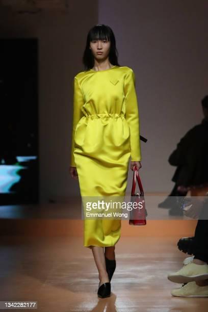 Model walks the runway at the Prada Womenswear Spring / Summer 2022 on September 24, 2021 in Shanghai, China.