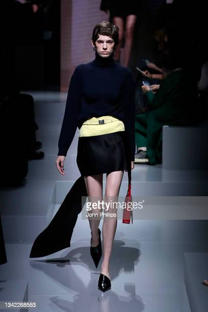 Model walks the runway at the Prada Womenswear Spring / Summer 2022 fashion show in Milan during the Milan Fashion Week - Spring / Summer 2022 on...