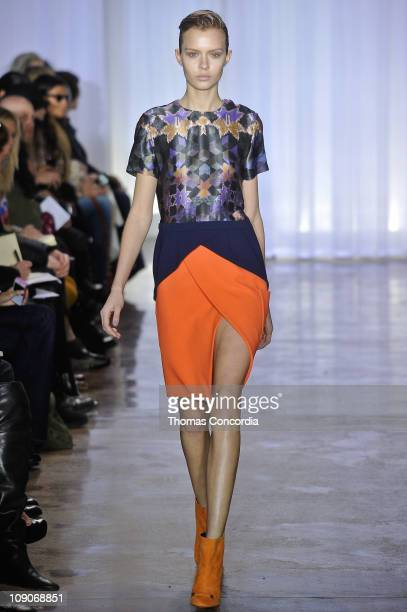 Model walks the runway at the Preen By Thornton Bregazzi Fall 2011 fashion show during Mercedes-Benz Fashion Week at Milk Studios on February 13,...
